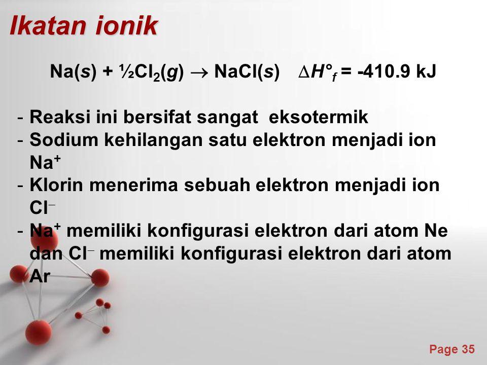 Na(s) + ½Cl2(g)  NaCl(s) DH°f = -410.9 kJ