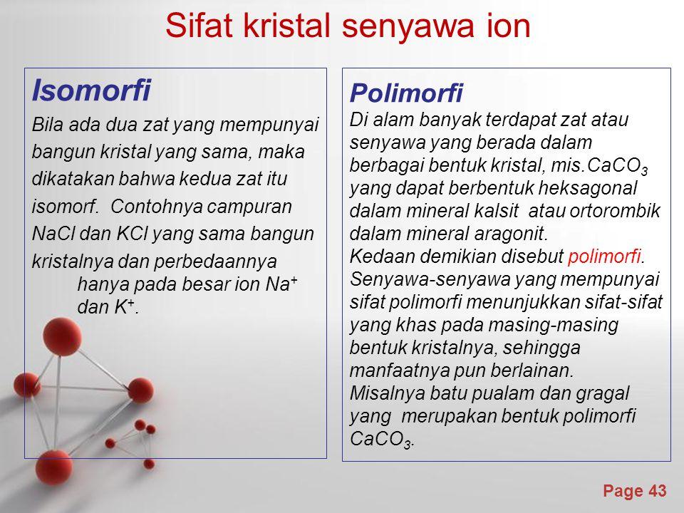 Sifat kristal senyawa ion