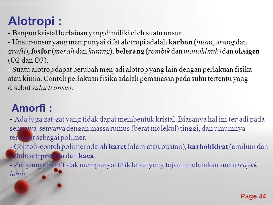 Alotropi : - Bangun kristal berlainan yang dimiliki oleh suatu unsur.