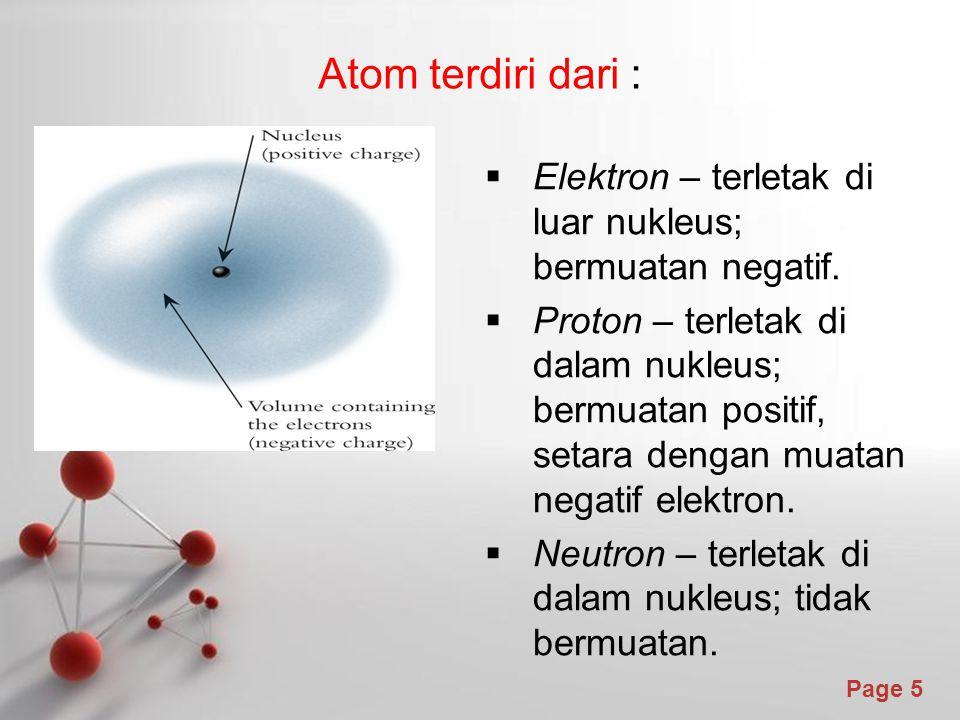 Atom terdiri dari : Elektron – terletak di luar nukleus; bermuatan negatif.