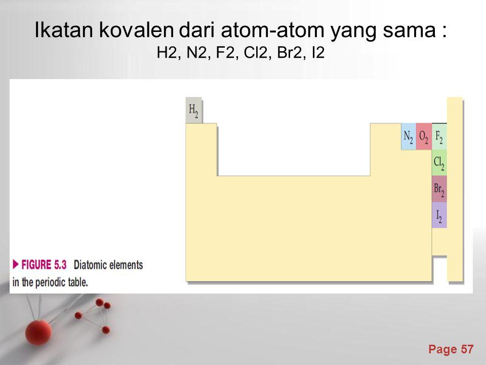 Ikatan kovalen dari atom-atom yang sama : H2, N2, F2, Cl2, Br2, I2