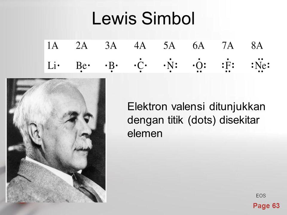 Lewis Simbol Elektron valensi ditunjukkan dengan titik (dots) disekitar elemen EOS