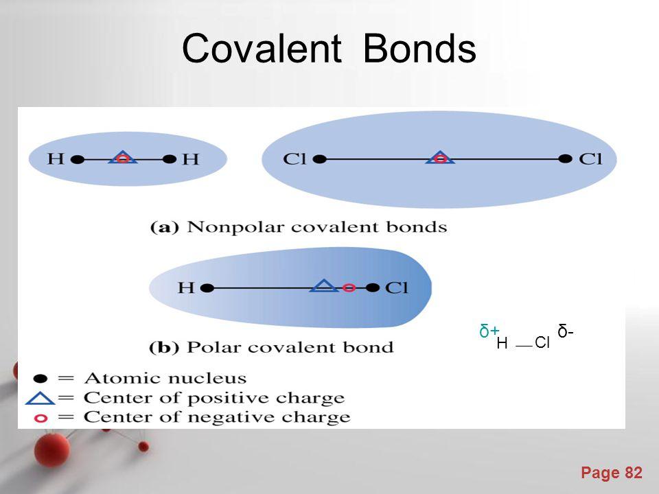 Covalent Bonds δ+ δ- H Cl