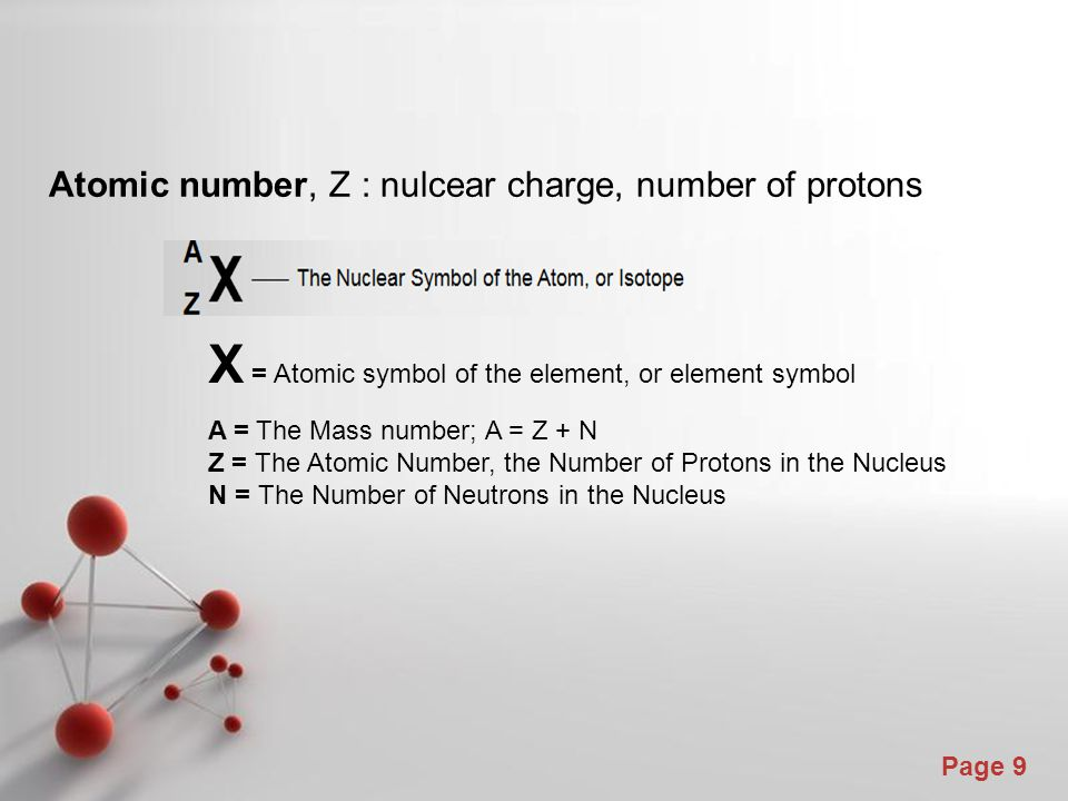 X = Atomic symbol of the element, or element symbol
