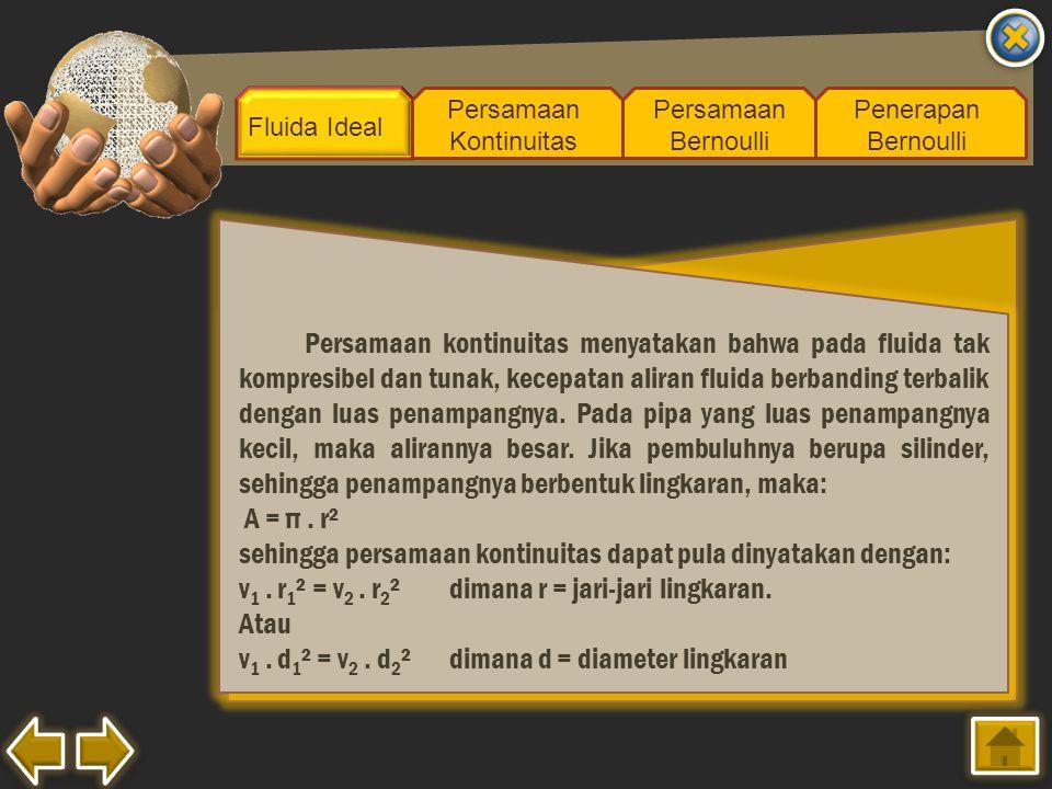 sehingga persamaan kontinuitas dapat pula dinyatakan dengan: