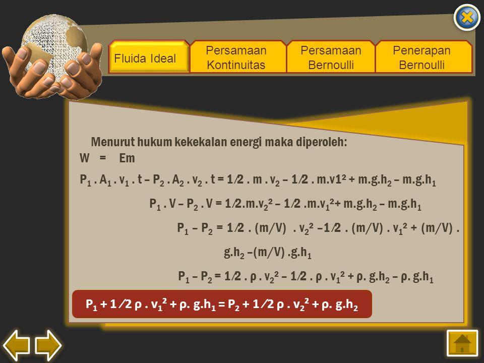 P1 + 1 ⁄2 ρ . v1² + ρ. g.h1 = P2 + 1 ⁄2 ρ . v2² + ρ. g.h2