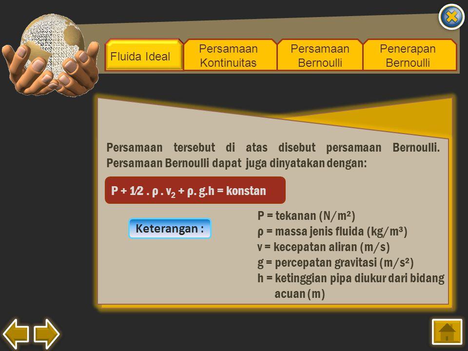 ρ = massa jenis fluida (kg/m³) v = kecepatan aliran (m/s)