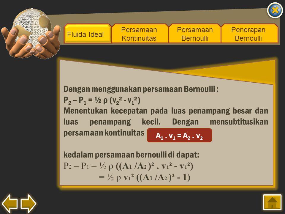 P2 – P1 = ½ ρ ((A1 /A2 )² . v1² - v1²) = ½ ρ v1² ((A1 /A2 )² - 1)