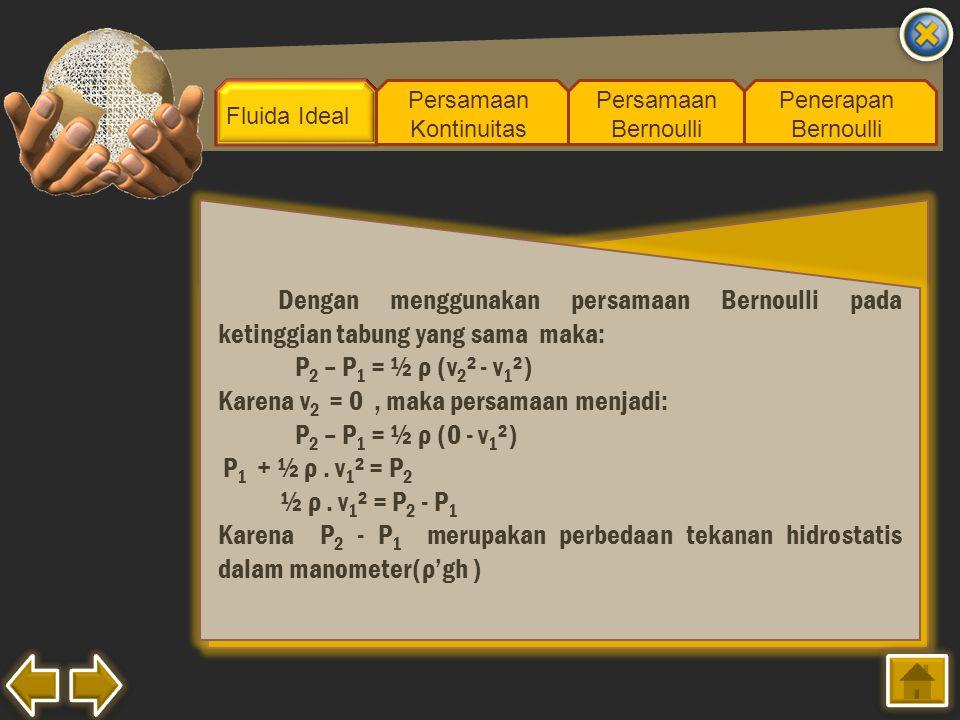 Karena v2 = 0 , maka persamaan menjadi: P2 – P1 = ½ ρ (0 - v1²)