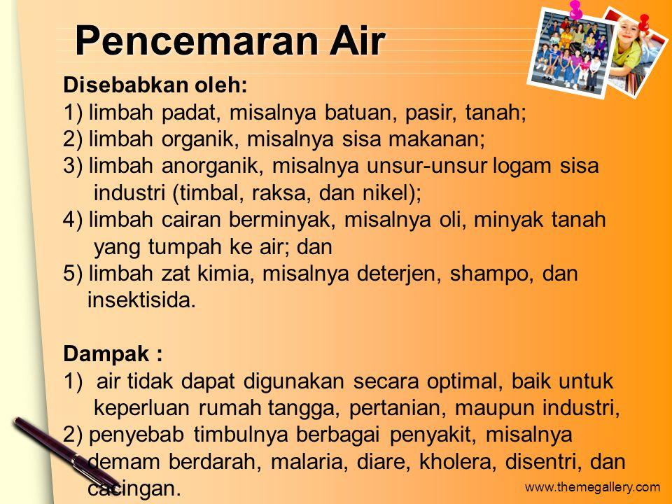 Pencemaran Air Disebabkan oleh: