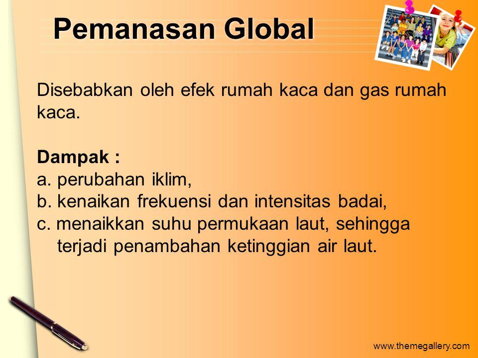 Pemanasan Global Disebabkan oleh efek rumah kaca dan gas rumah kaca.