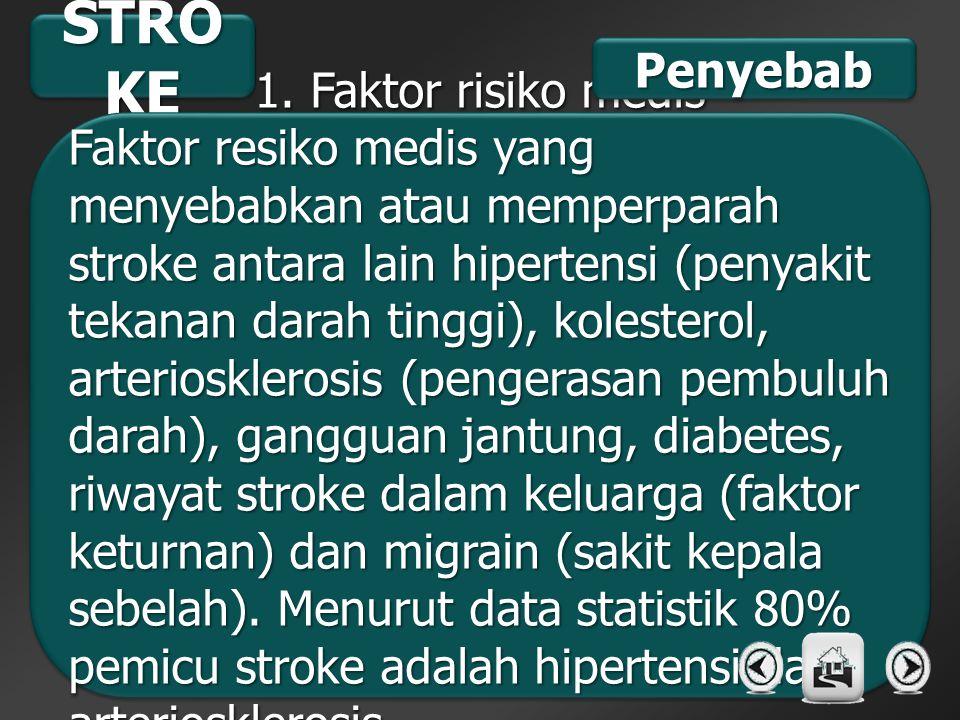 STROKE Penyebab 1. Faktor risiko medis