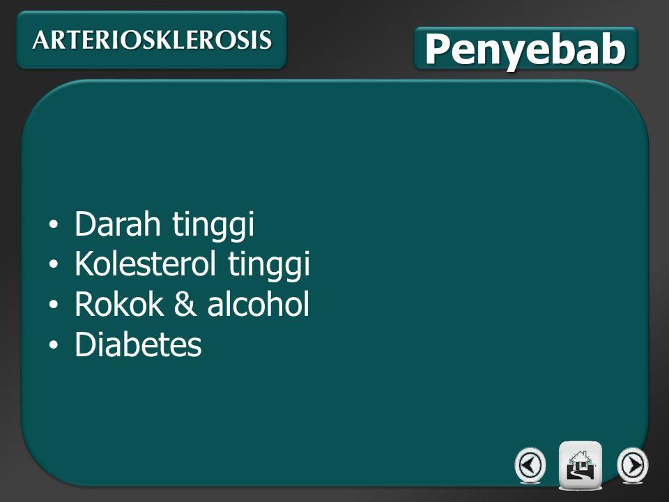 Penyebab Darah tinggi Kolesterol tinggi Rokok & alcohol Diabetes