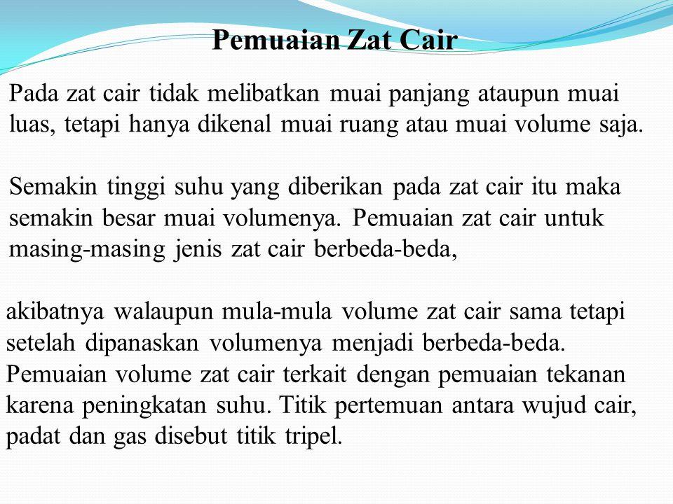 Pemuaian Zat Cair Pada zat cair tidak melibatkan muai panjang ataupun muai luas, tetapi hanya dikenal muai ruang atau muai volume saja.
