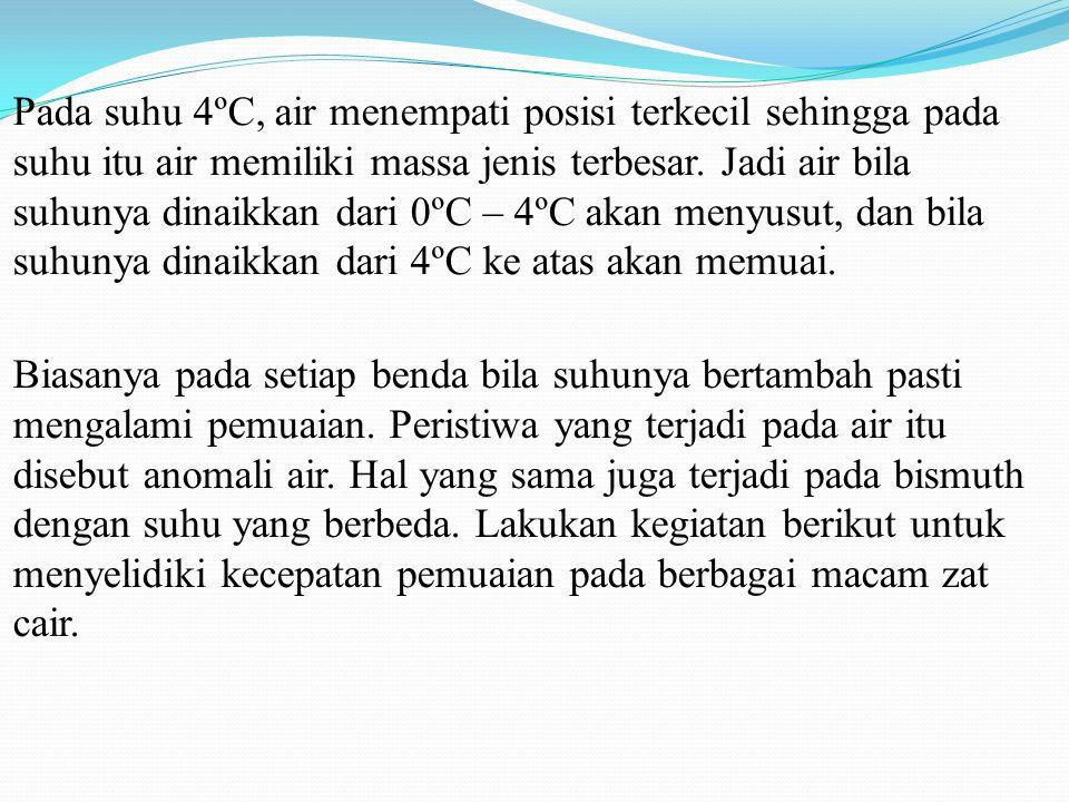 Pada suhu 4ºC, air menempati posisi terkecil sehingga pada suhu itu air memiliki massa jenis terbesar. Jadi air bila suhunya dinaikkan dari 0ºC – 4ºC akan menyusut, dan bila suhunya dinaikkan dari 4ºC ke atas akan memuai.