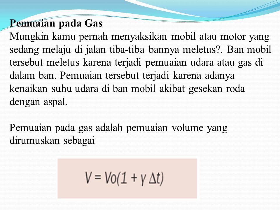 Pemuaian pada Gas Mungkin kamu pernah menyaksikan mobil atau motor yang sedang melaju di jalan tiba-tiba bannya meletus .