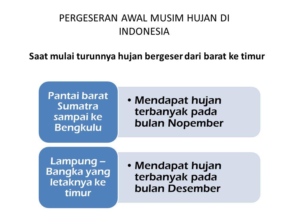 PERGESERAN AWAL MUSIM HUJAN DI INDONESIA