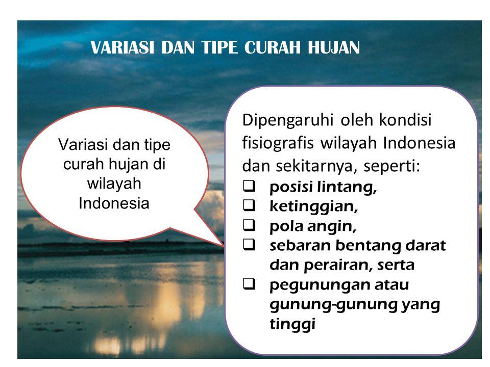 Variasi dan tipe curah hujan di wilayah Indonesia