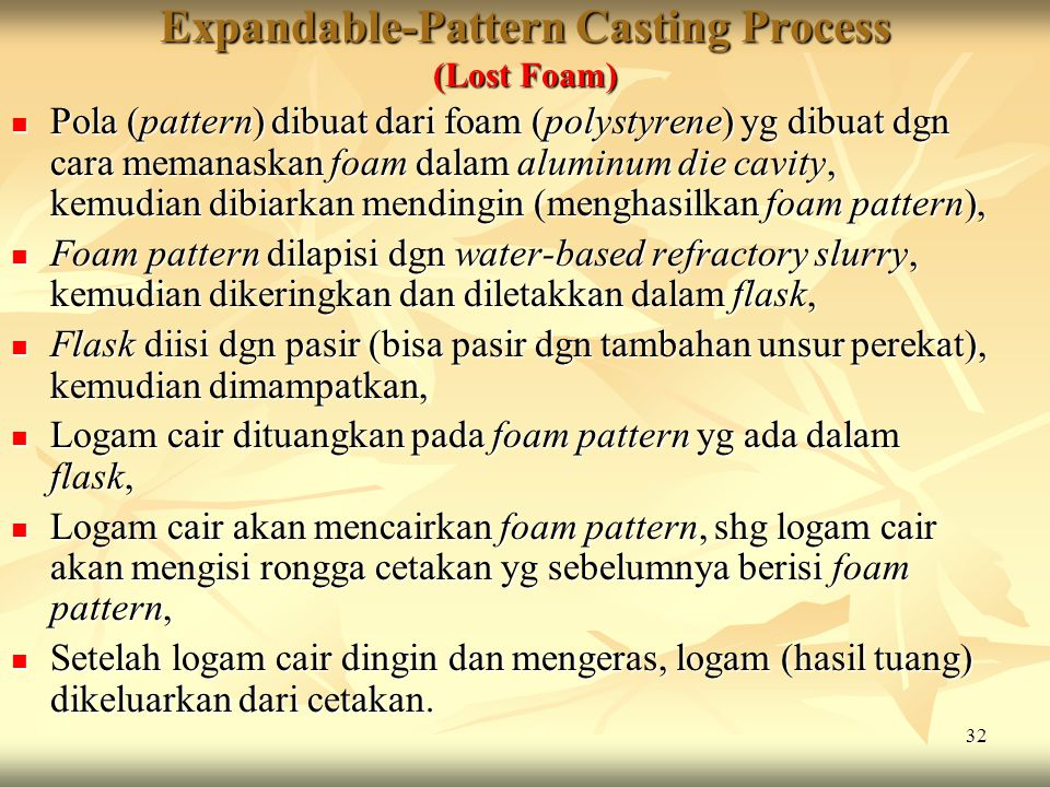 Expandable-Pattern Casting Process (Lost Foam)
