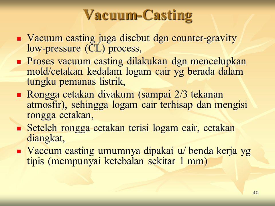Vacuum-Casting Vacuum casting juga disebut dgn counter-gravity low-pressure (CL) process,