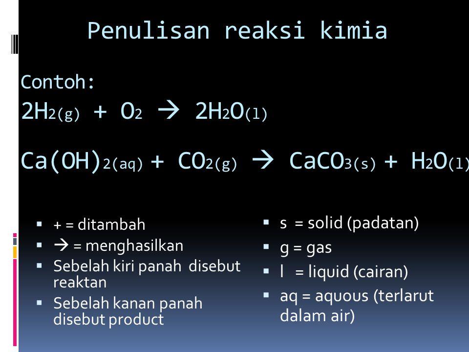 Penulisan reaksi kimia