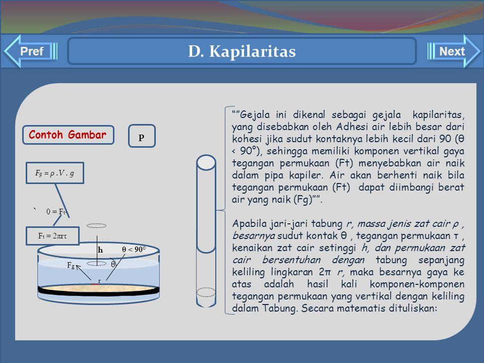 D. Kapilaritas Pref Next ` Contoh Gambar