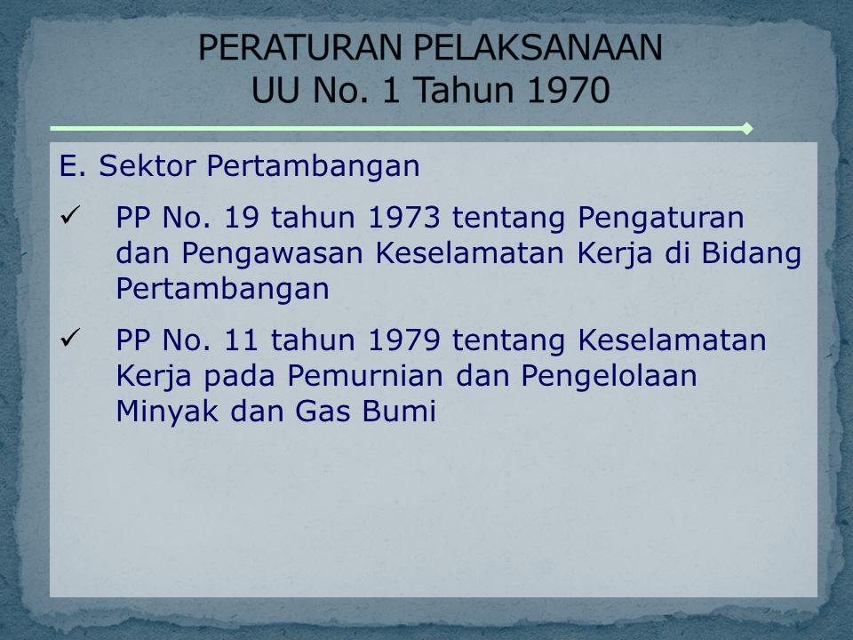 PERATURAN PELAKSANAAN UU No. 1 Tahun 1970