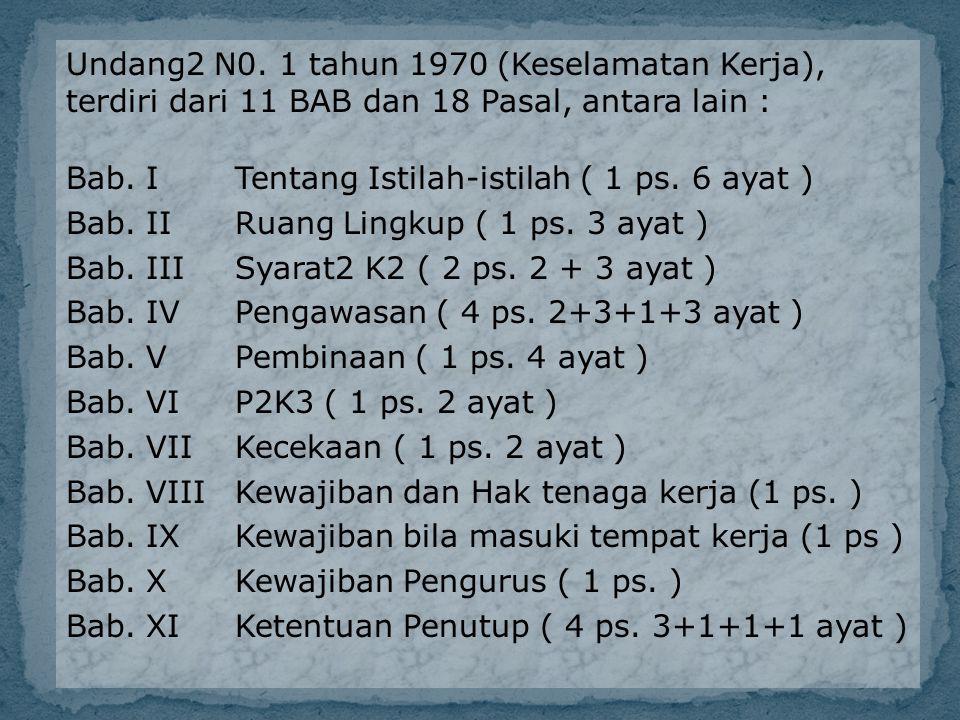 Undang2 N0. 1 tahun 1970 (Keselamatan Kerja), terdiri dari 11 BAB dan 18 Pasal, antara lain : Bab.