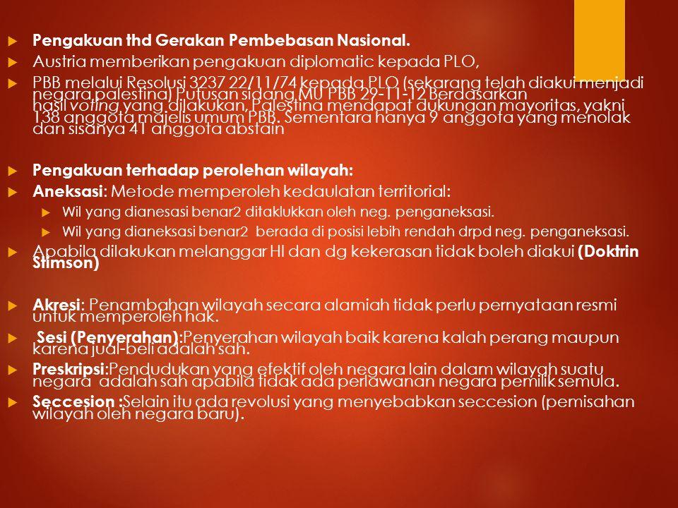 Pengakuan thd Gerakan Pembebasan Nasional.