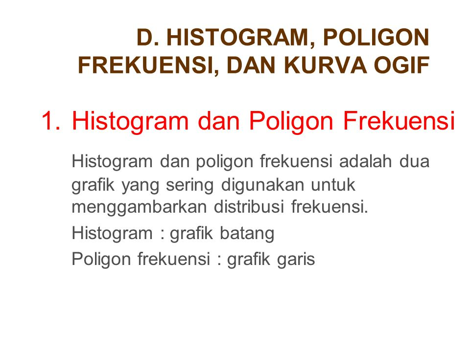 D. HISTOGRAM, POLIGON FREKUENSI, DAN KURVA OGIF