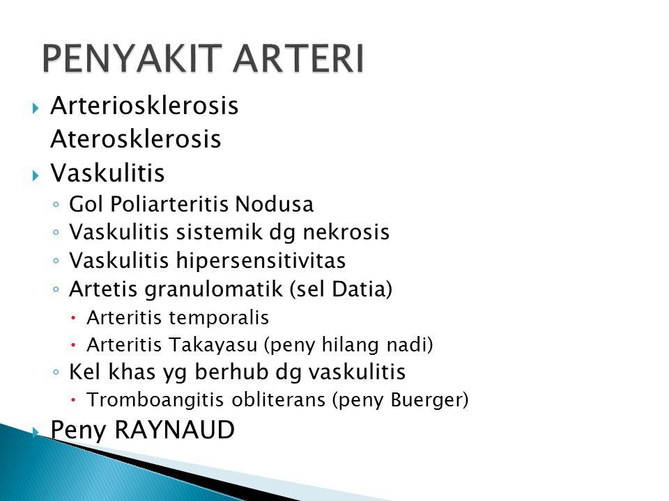 PENYAKIT ARTERI Arteriosklerosis Aterosklerosis Vaskulitis