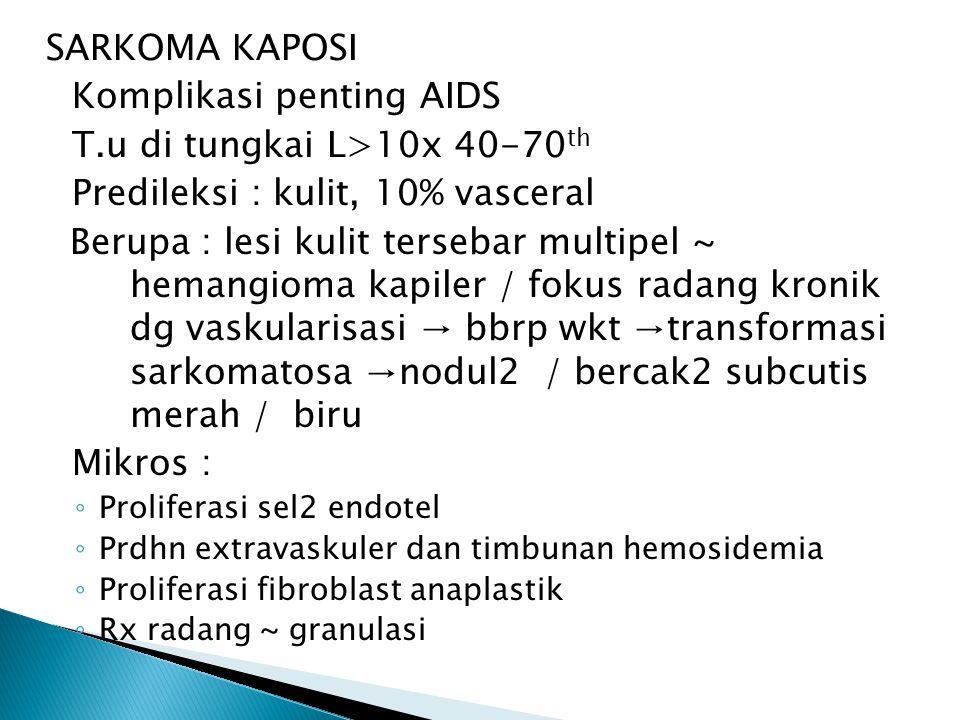 Komplikasi penting AIDS T.u di tungkai L>10x 40-70th