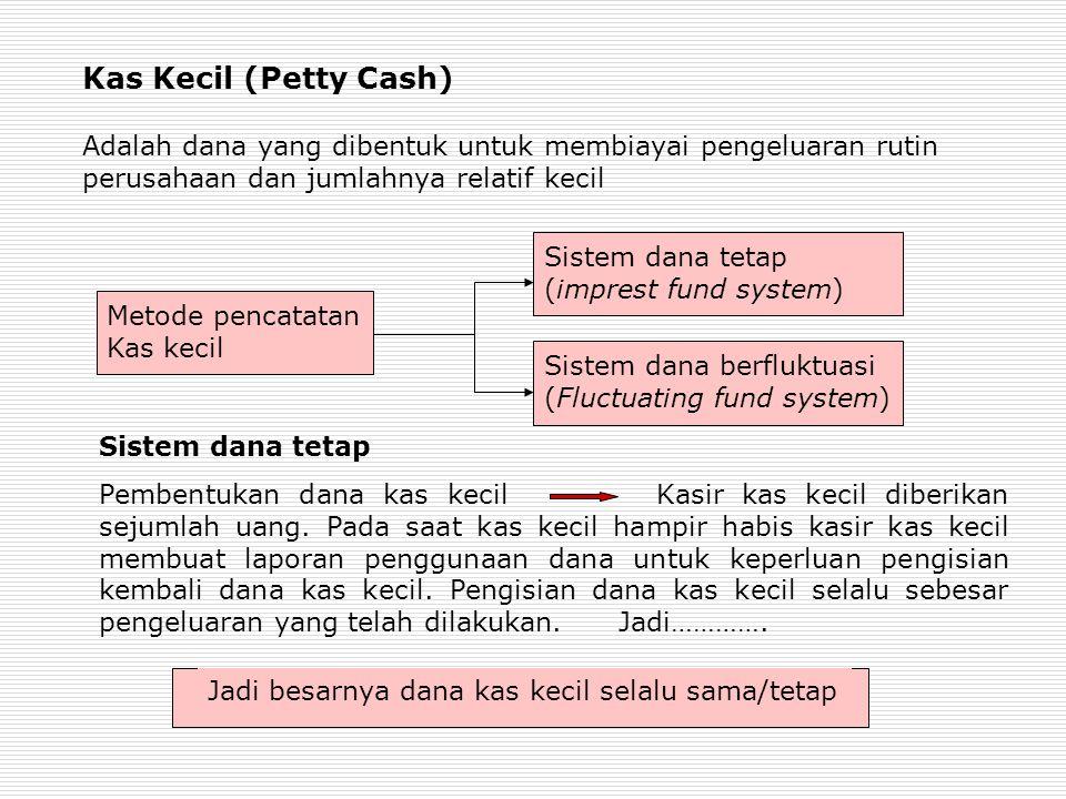 Kas Kecil (Petty Cash) Adalah dana yang dibentuk untuk membiayai pengeluaran rutin perusahaan dan jumlahnya relatif kecil
