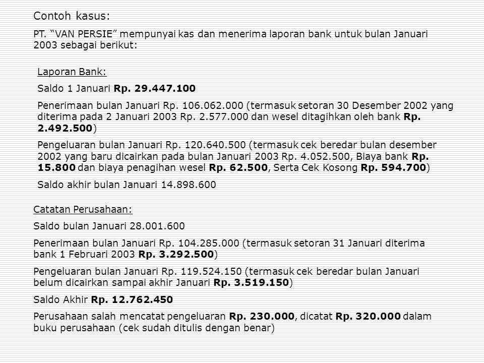 Contoh kasus: PT. VAN PERSIE mempunyai kas dan menerima laporan bank untuk bulan Januari 2003 sebagai berikut: