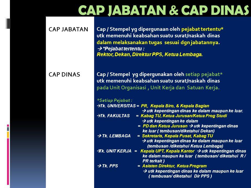 CAP JABATAN & CAP DINAS CAP JABATAN CAP DINAS