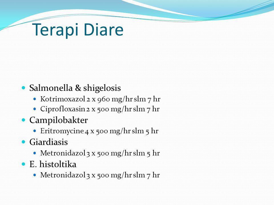Terapi Diare Salmonella & shigelosis Campilobakter Giardiasis