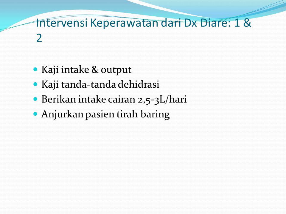 Intervensi Keperawatan dari Dx Diare: 1 & 2