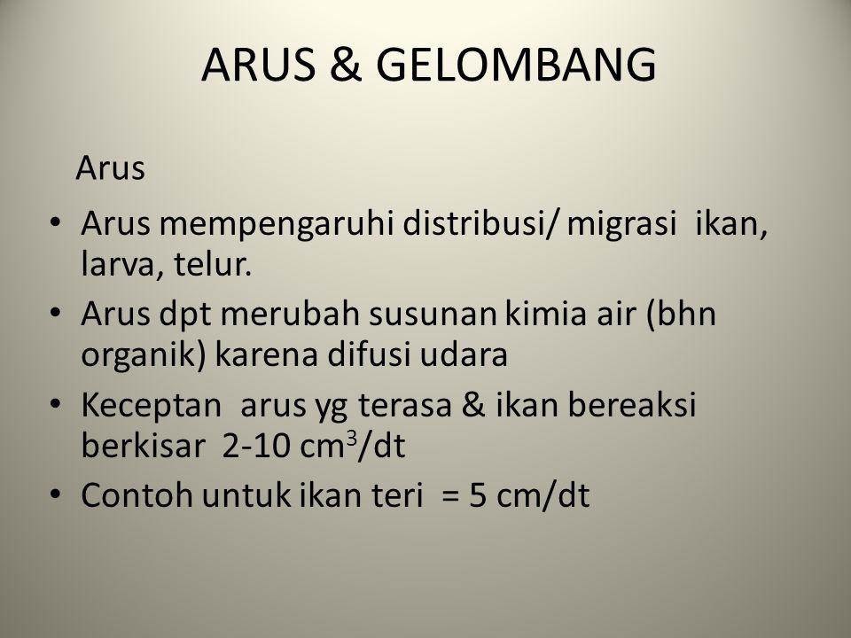 ARUS & GELOMBANG Arus. Arus mempengaruhi distribusi/ migrasi ikan, larva, telur.