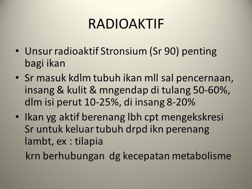 RADIOAKTIF Unsur radioaktif Stronsium (Sr 90) penting bagi ikan