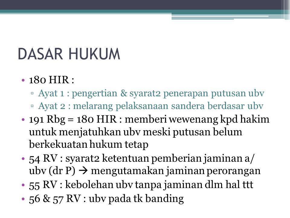 DASAR HUKUM 180 HIR : Ayat 1 : pengertian & syarat2 penerapan putusan ubv. Ayat 2 : melarang pelaksanaan sandera berdasar ubv.