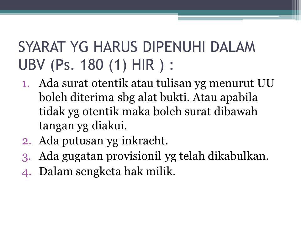 SYARAT YG HARUS DIPENUHI DALAM UBV (Ps. 180 (1) HIR ) :