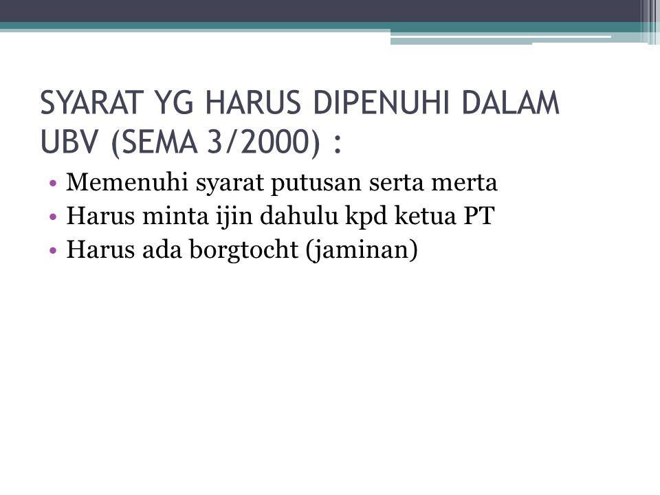 SYARAT YG HARUS DIPENUHI DALAM UBV (SEMA 3/2000) :