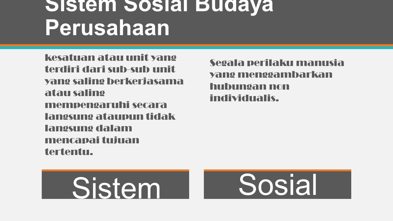 Sistem Sosial Budaya Perusahaan
