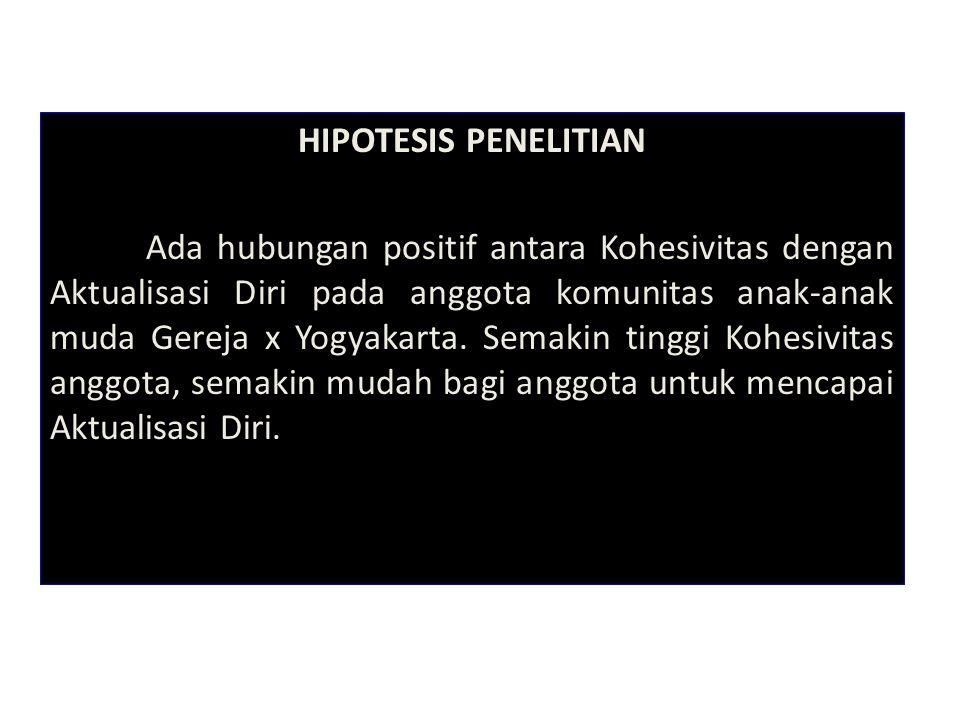 HIPOTESIS PENELITIAN Ada hubungan positif antara Kohesivitas dengan Aktualisasi Diri pada anggota komunitas anak-anak muda Gereja x Yogyakarta.
