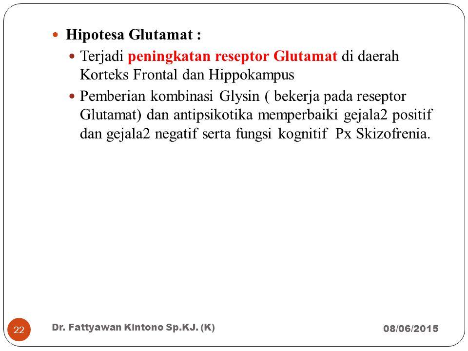 Hipotesa Glutamat : Terjadi peningkatan reseptor Glutamat di daerah Korteks Frontal dan Hippokampus.
