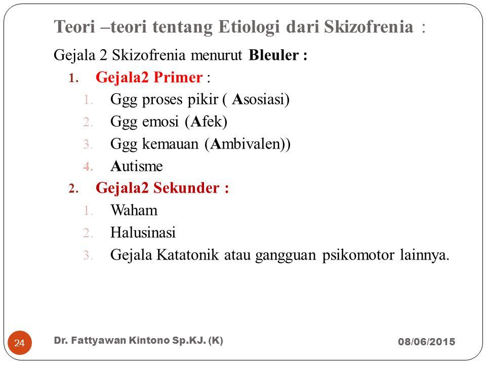 Teori –teori tentang Etiologi dari Skizofrenia :