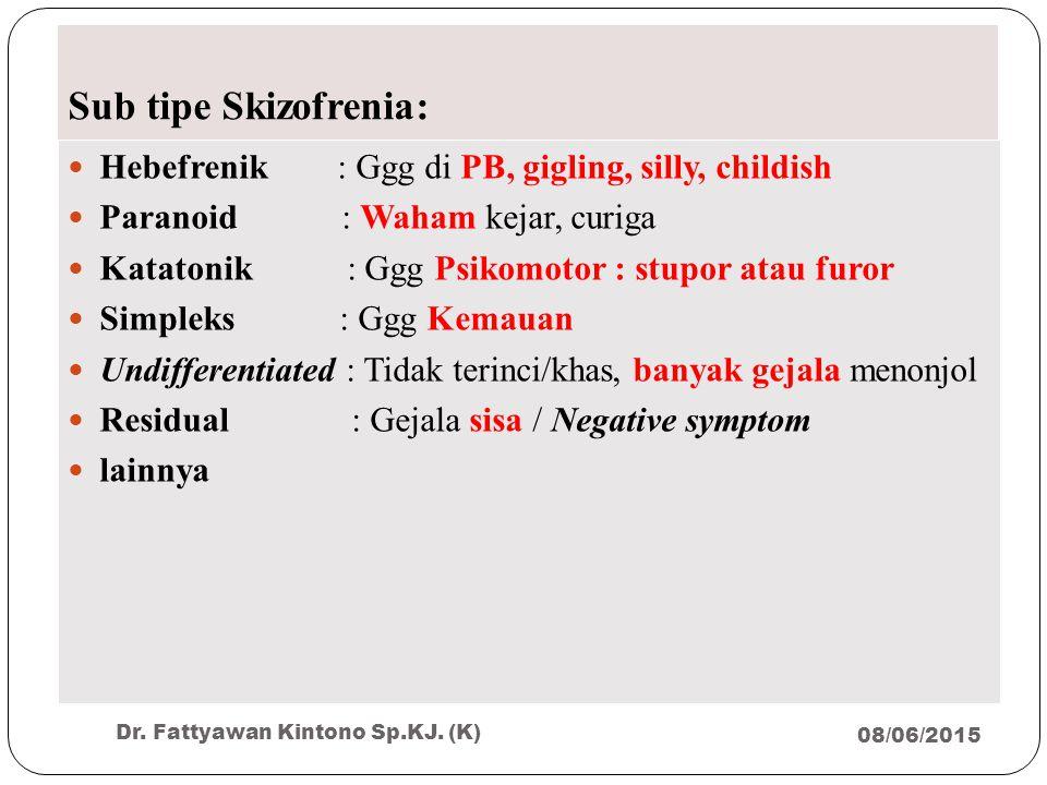 Sub tipe Skizofrenia: Hebefrenik : Ggg di PB, gigling, silly, childish