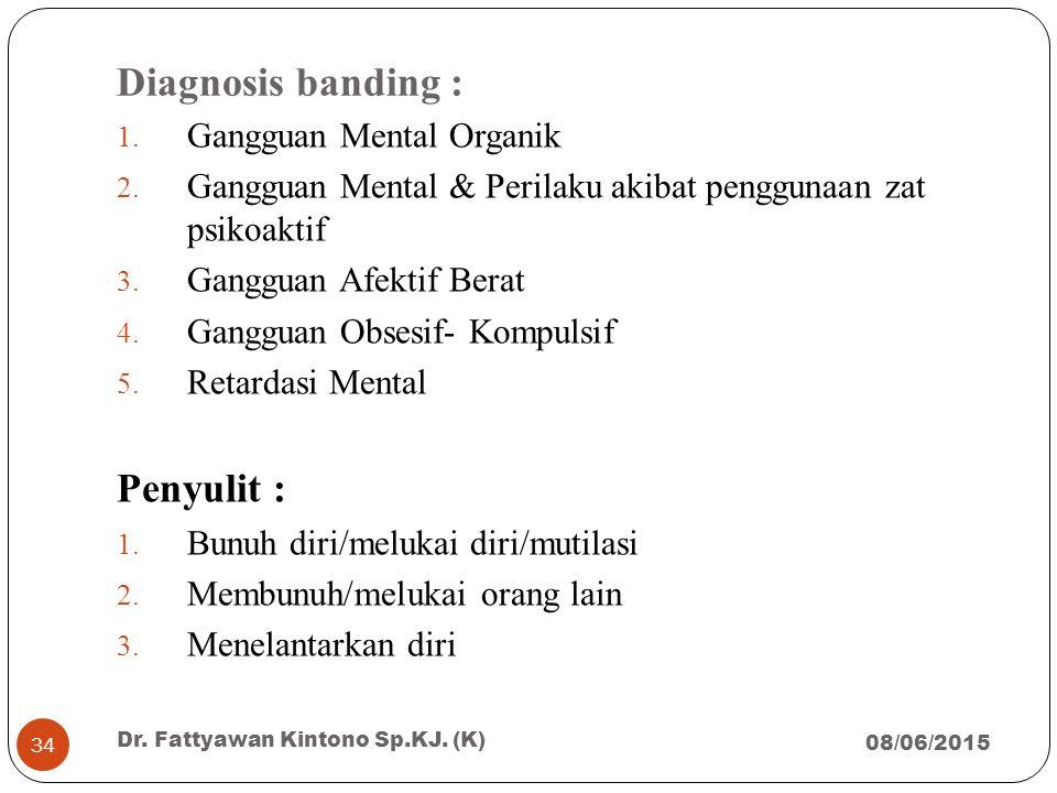 Diagnosis banding : Penyulit : Gangguan Mental Organik