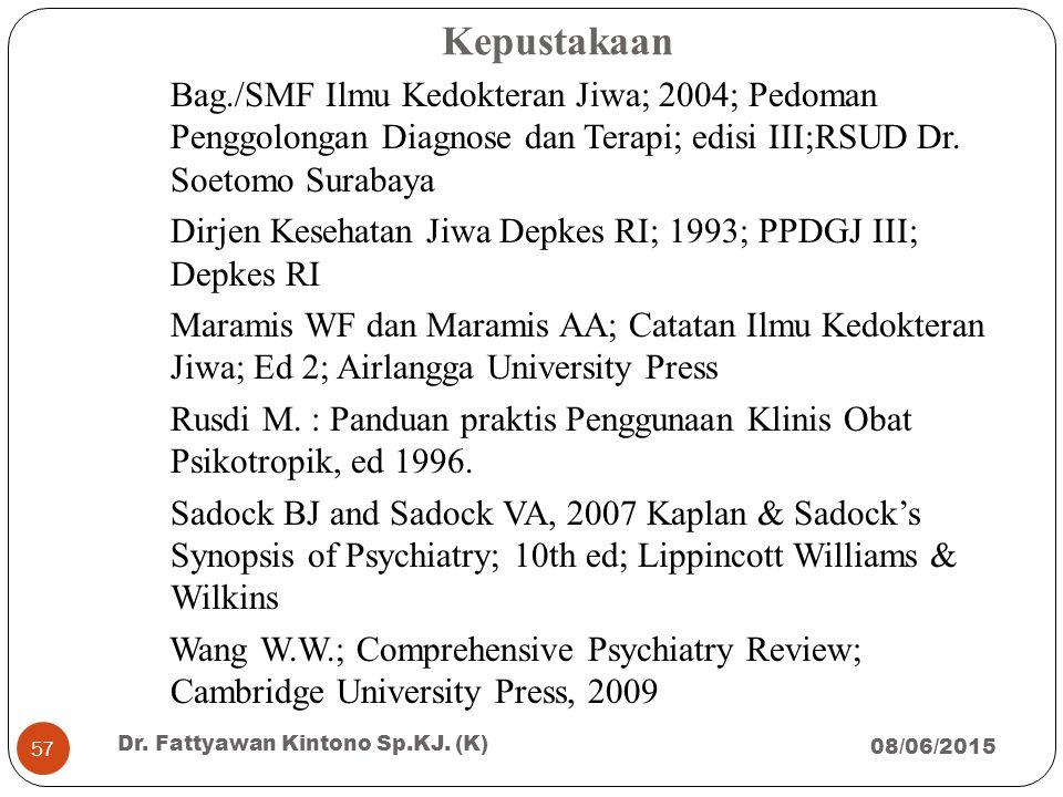 Kepustakaan Bag./SMF Ilmu Kedokteran Jiwa; 2004; Pedoman Penggolongan Diagnose dan Terapi; edisi III;RSUD Dr. Soetomo Surabaya.