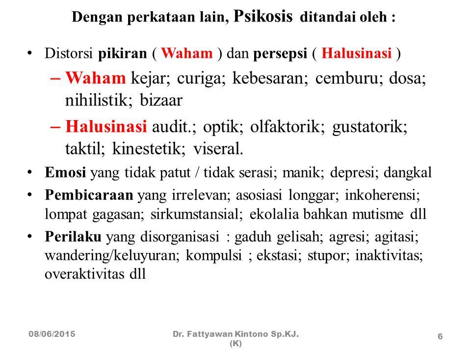 Dengan perkataan lain, Psikosis ditandai oleh :